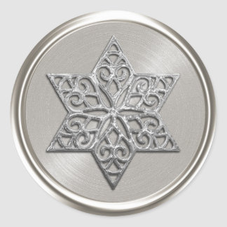 Ornate Silver Star of David Envelope Seal