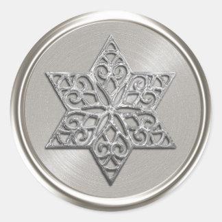 Ornate Silver Star of David Envelope Seal Round Sticker