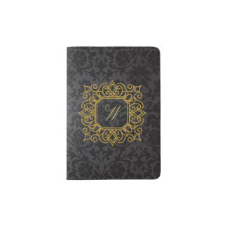 Ornate Square Monogram on Black Damask Passport Holder