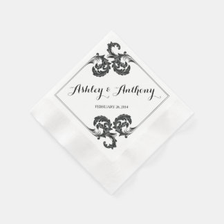 Ornate Vintage Floral Personalized Wedding Disposable Napkins