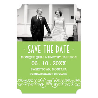 Ornate White Belt -Spring Green Save the Date Card
