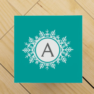 Ornate White Snowflake Monogram on Bright Teal Wine Gift Box
