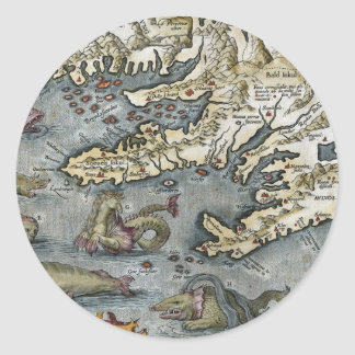 Ortelius Map Sea Monsters Sticker