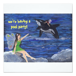 """Orville the Orca""""s  Pool Party 13 Cm X 13 Cm Square Invitation Card"""