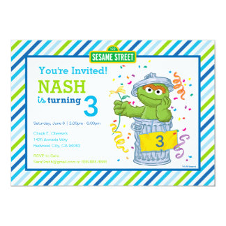 Oscar the Grouch Striped Birthday Card