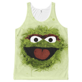 Oscar the Grouch   Watercolor Trend All-Over Print Singlet