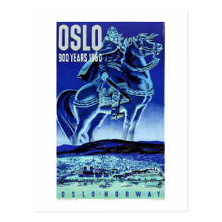 Oslo Norway Vintage Travel Poster Restored Postcard