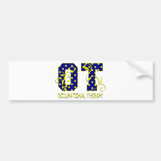 ot letters blue and yellow bumper sticker