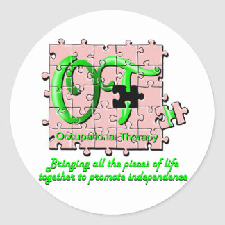 ot puzzle pink and green classic round sticker