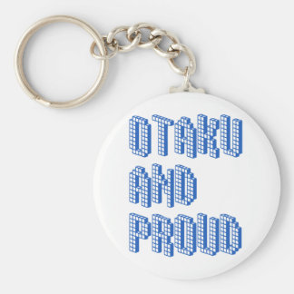 Otaku and Proud - Blue Basic Round Button Key Ring