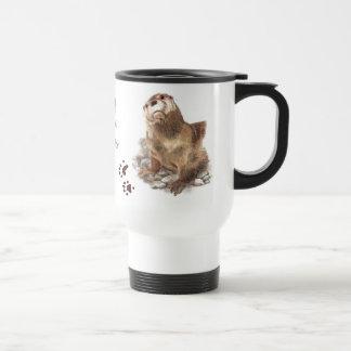 Otters left footprints on my heart, Cute Animal, Stainless Steel Travel Mug