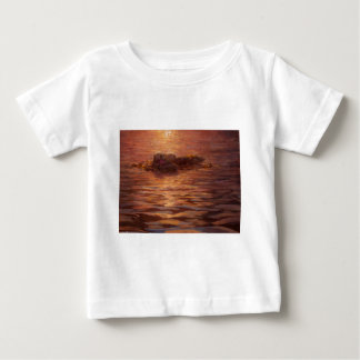 Otters Snuggling at Sunset Floating With Kelp Baby T-Shirt
