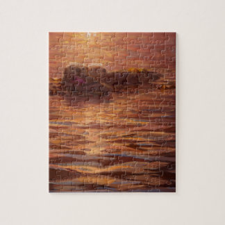 Otters Snuggling at Sunset Floating With Kelp Jigsaw Puzzle