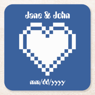 Our 8-Bit Hearts in Blue Paper Coaster