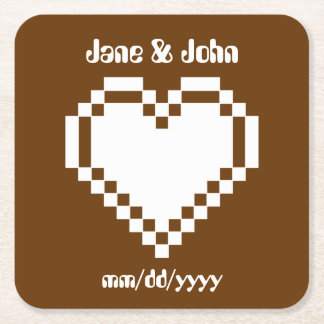 Our 8-Bit Hearts in Chocolate Paper Coaster