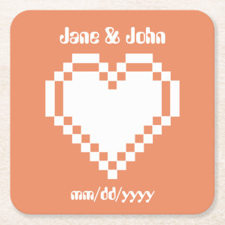 Our 8-Bit Hearts in Coral Paper Coaster