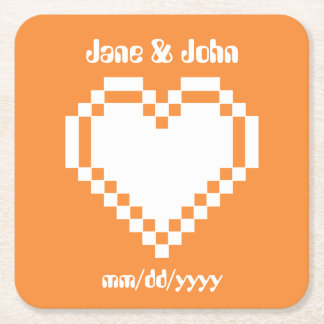 Our 8-Bit Hearts in Orange Paper Coaster