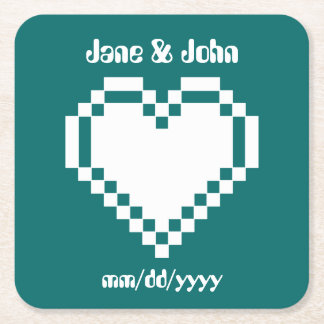 Our 8-Bit Hearts in Teal Paper Coaster