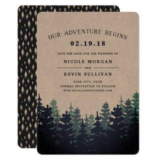 Our Adventure Begins | Winter Forest Save the Date Card