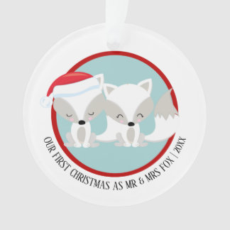 Our First Christmas Arctic Fox Personalised Photo Ornament