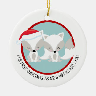 Our First Christmas Arctic Foxes Personalised Christmas Ornament