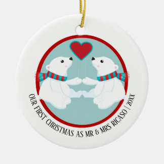 Our First Christmas Polar Bear Personalised Christmas Ornament