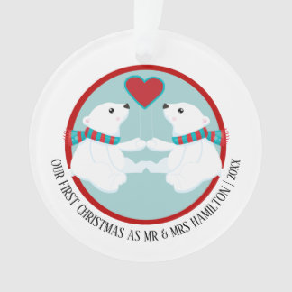 Our First Christmas Polar Bear Personalised Photo Ornament