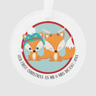 Our First Christmas Red Fox Personalised Photo Ornament