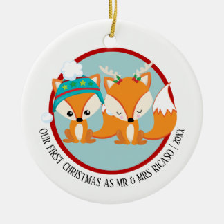 Our First Christmas Red Foxes Personalised Christmas Ornament