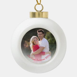 Our First Christmas Red Year Photo Ornament