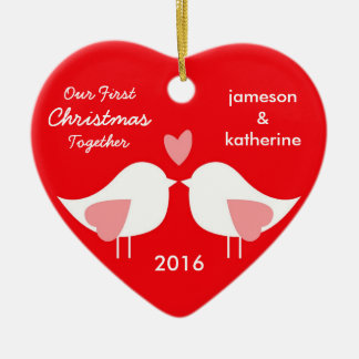 Our First Christmas Together Love Birds Ornament Ornament