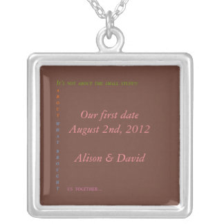 Our first date silver plated necklace