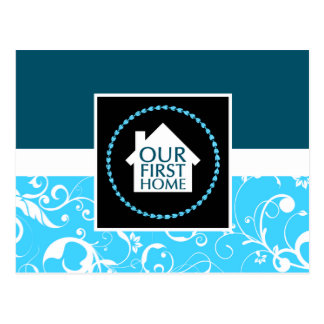 our first home (blue damask) postcard