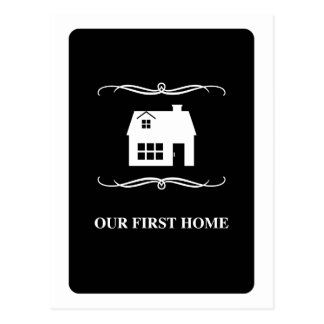 our first home (mod black and white) postcard