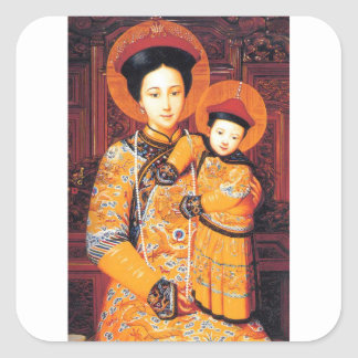 Our Lady of China (中华圣母, 中華聖母) Chinese Virgin Mary Square Sticker