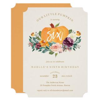 Our Little Pumpkin Sixth Birthday Invitation