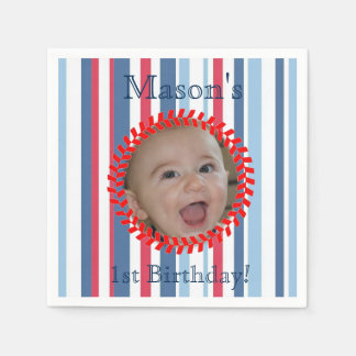 Our Little Slugger is Turning One Birthday Napkins Paper Napkin