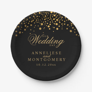 Our Wedding Day Black & Gold Confetti Dots 7 Inch Paper Plate