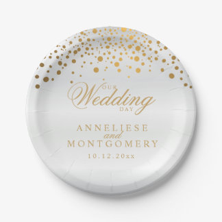 Our Wedding Day White & Gold Confetti Dots 7 Inch Paper Plate