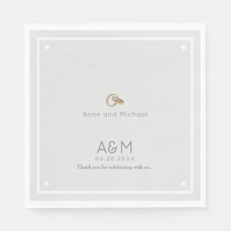 our wedding pale gray reception party paper napkin