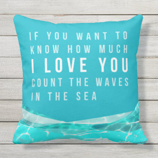 OUTDOOR Beach Style Pillow,Blue, Green, Turquois Outdoor Cushion