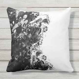 Outdoor cushion flower lace black white pillow
