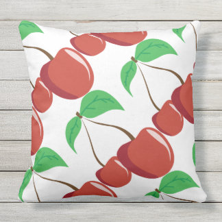 outdoor or indoor Red cherry retro chic Throw Pillow