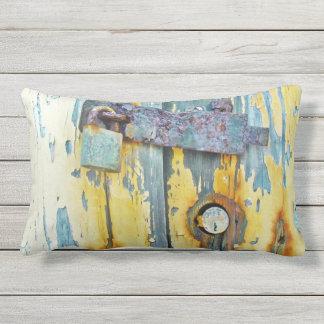 outdoor or indoor Rusty aqua painted barn door loc Lumbar Pillow