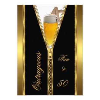 Outrageous Fun 50 Zipper Gold Beer Drink Announcement