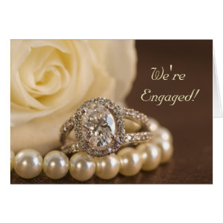 Oval Diamond Ring Rose Engagement Announcement Greeting Card