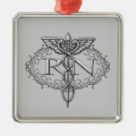 Oval Silver Caduceus RN Nurse Silver-Colored Square Decoration