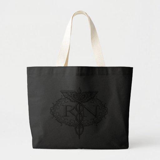 Oval Silver Caduceus RN Nurse Jumbo Tote Bag