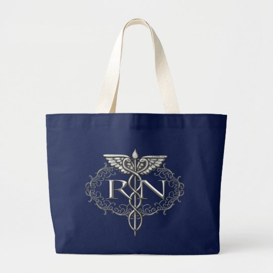 Oval Silver Caduceus RN Nurse Large Tote Bag