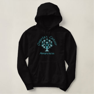 Ovarian Cancer Awareness tree embroidered Embroidered Hoodie